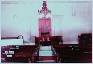 1955 Interior of Meeting House. This picture of the interior was taken around 1955.